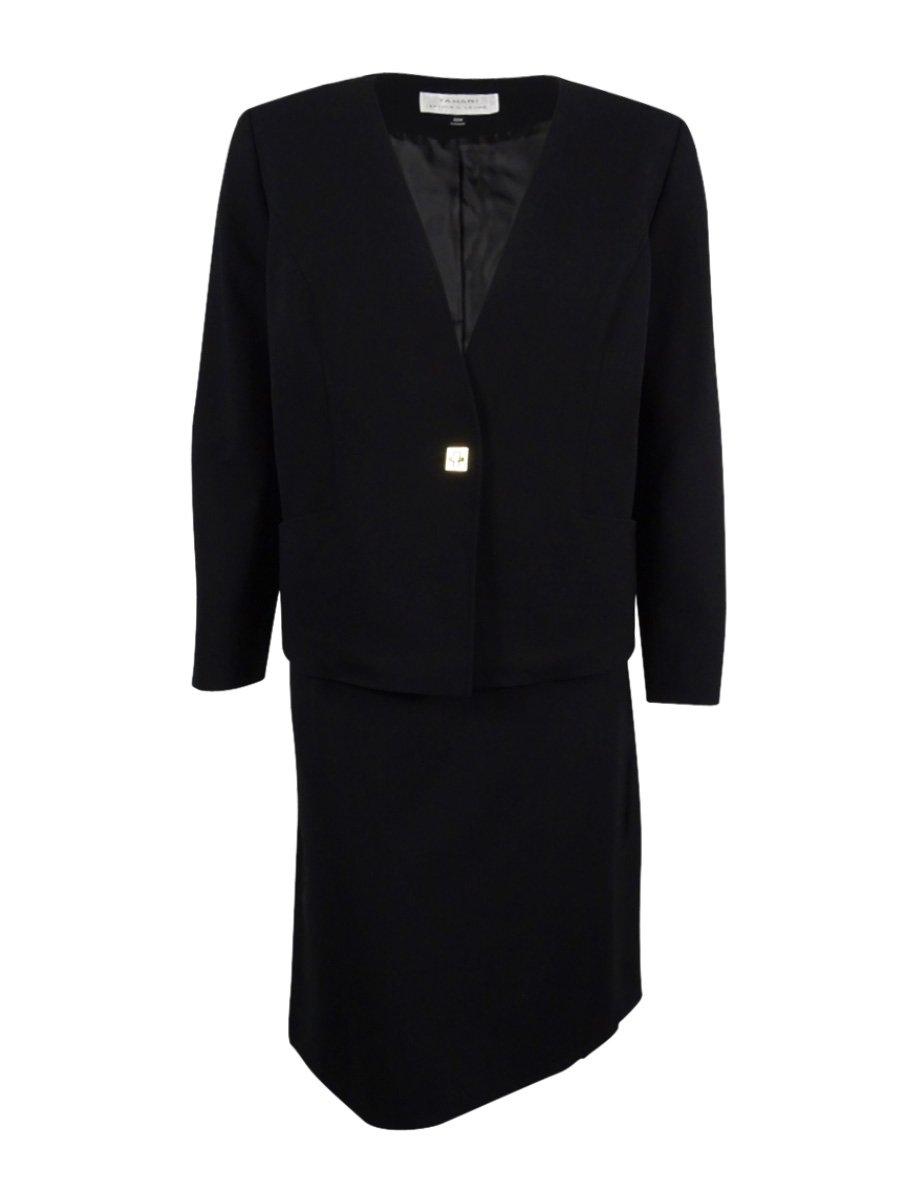 Tahari Women's Plus-Size Turn-Lock Ponte Skirt Suit (20W, Black)