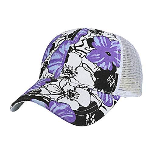 キャップ女性の男性調整可能なカラフルなフラワープリント野球帽メッシュキャップシェード夏,紫の,調節可能な