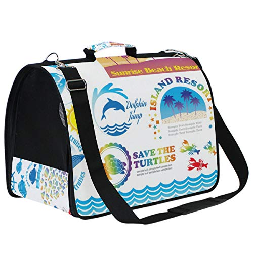 IMONKA Beach Summer Vacation-Related Info-Graphics Pet Carriers for Small Medium Cats Dogs Collapsible Puppy Travel Carrier Bag with Replacement Comfy Mat -
