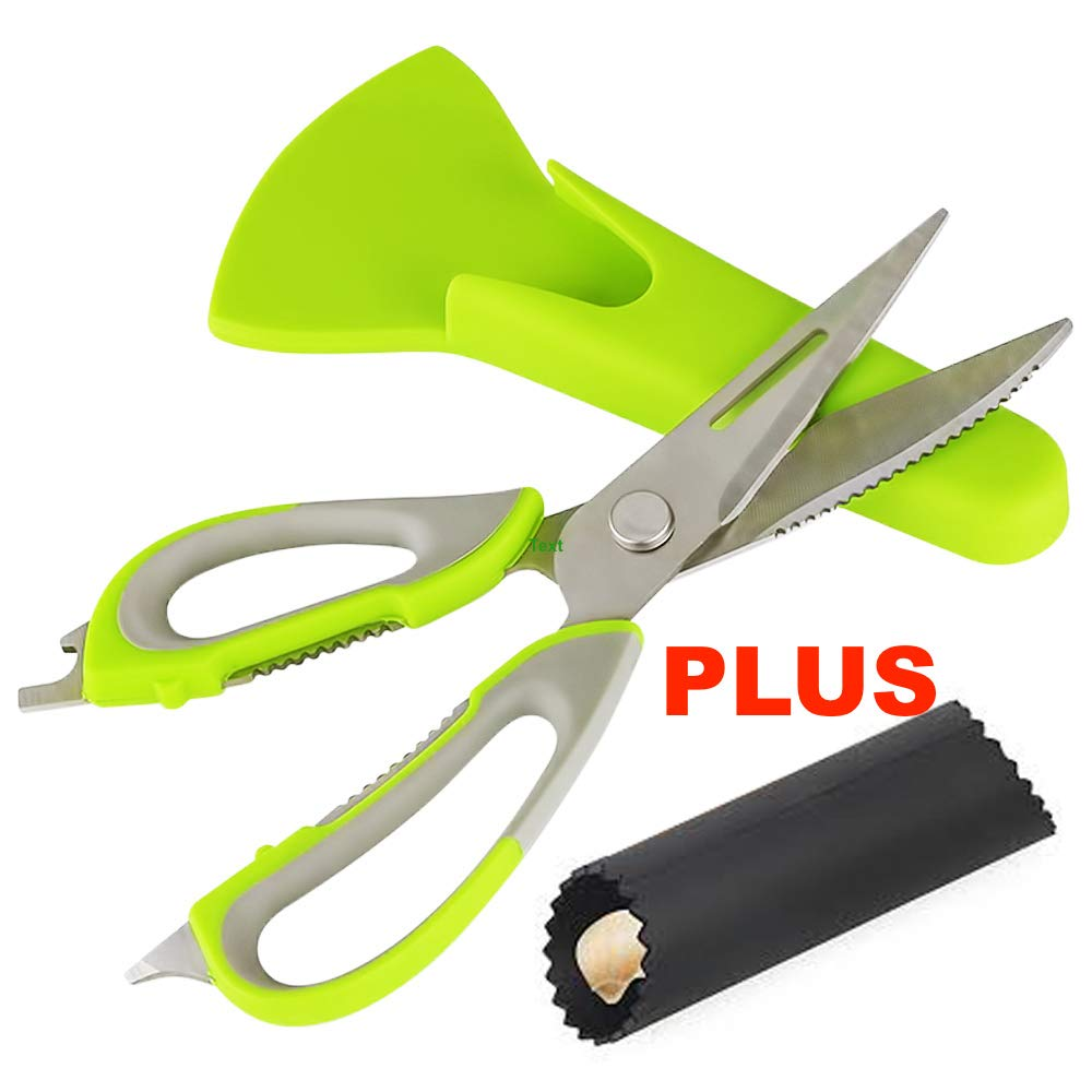 Multifunction Kitchen Scissors [GOONTING] Multipurpose Stainless Steel Kitchen Shears 7in1 Heavy Duty Kitchen Scissors Dishwasher Safe PLUS Garlic Peeler by Magnetor Plus(Lime Green)