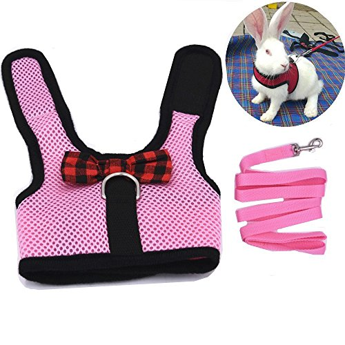 Walking Jacket Rabbit (Rabbit Bunny Kitten Harness No Pull Cat Leash Stylish Vest Harness for Small Animal Adjustable Soft Breathable Walking Harness Set (PINK, M))