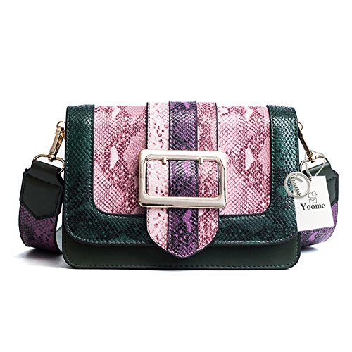 Shoulder Bag Multi Crossbody Purpose Color Small Retro Green Bag Detachable Bag for Hit Snake Women Yoome Single Square Strap with Texture Wide Leather Skin qFFwpY