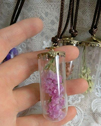Terrarium Necklace Nature Jewelry, Fairy Garden Pendant, Moss,pink Dried Flowers , Miniature Glass Bottle Forget Me Not Dried Flower