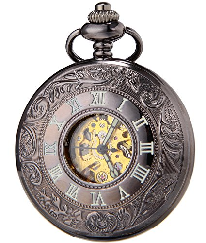 SEWOR Vintage Hollow Pocket Watch Automatic Mechanical Self Wind & Luxury Leather Gift Box (Black)