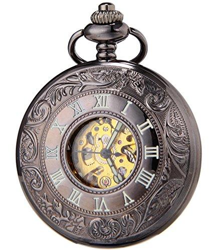 SEWOR Black Skeleton Pocket Watch Luminous Case Automatic Mechanical Self Wind