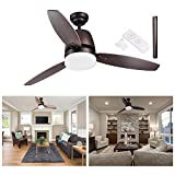 "cheap ceiling fans with lights - GC Global Direct 52"" Dimmable Ceiling Fan with Light & Remote Copper Bronze Opt (3-Blade Bronze)"