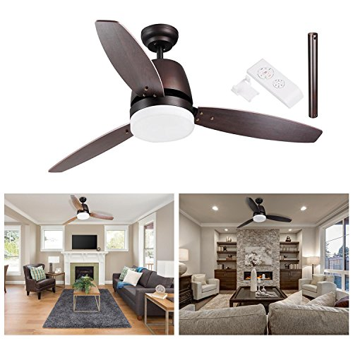 """GC Global Direct 52"""" Dimmable Ceiling Fan with Light & Remote Copper Bronze Opt (3-Blade Bronze) - Opt Flush"""