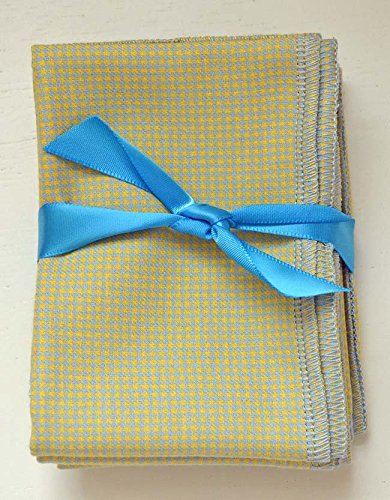 Gentleman's Casual Hankie Soft, Brushed Cotton Handkerchiefs Large 14x14 inch size, Set of Four Yellow and Blue Houndstooth