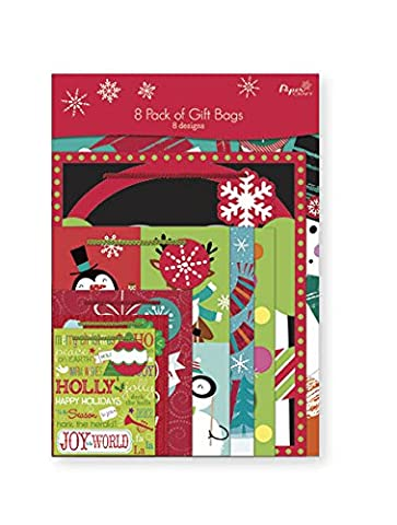 Variety Pack of 8 Christmas Gift Bags. Xmas Giftbags Colorful Holiday Designs - Christmas Design Pack