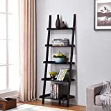 """Black Finish 5 Tier Bookcase Shelf Ladder Leaning - 72"""" Height"""