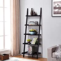 Black Finish 5 Tier Bookcase Shelf Ladder Leaning - 72 Height