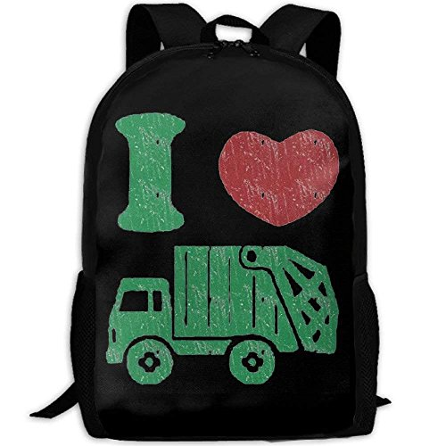 YIXKC Adult Backpack I Love Trash Garbage Trucks School Bag Travel Daypack by YIXKC
