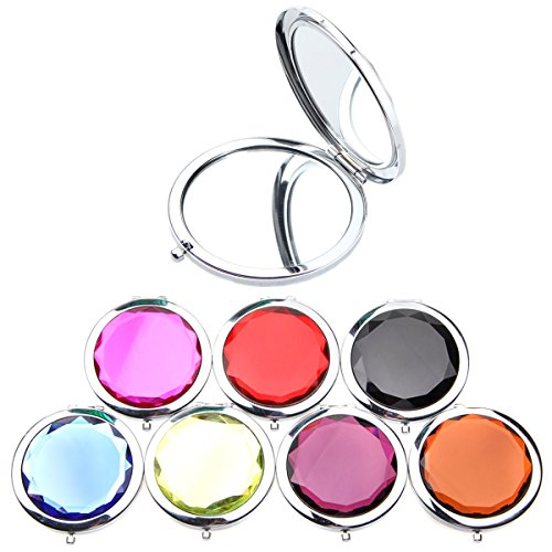 10pcs Different Colors Double Compact Cosmetic Makeup Round Pocket Purse Magnification Jewel Mirror 10pcs