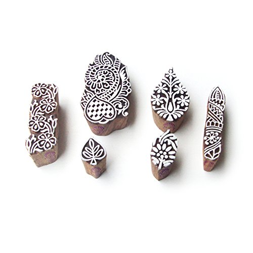[Flower and Leaf Indian Pattern Wood Block Print Stamps (Set of 6)] (Flower Pattern Wood)