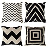 Traney Black& Beige Stripes Modern Geometry Style Soft Linen Burlap Square Throw Pillow Covers, 18 x 18 Inches, Set of 4
