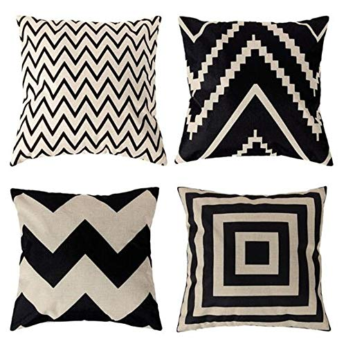 Traney Black& Beige Stripes Modern Geometry Style Soft Linen Burlap Square Throw Pillow Covers, 18 x 18 Inches, Set of 4 (Throw Pillows Ivory Black And)