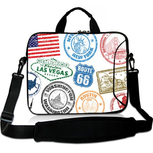 Icon Womens Laptop Bag - Wondertify 13-13.3 Inch Water-resistant Neoprene Laptop Shoulder Bag Sleeve Briefcase - Usa Rubber Stamp Icon Laptop Carrying Bag Case for Macbook Air/Pro/Laptop/Ultrabook/Notebook/Men/Women