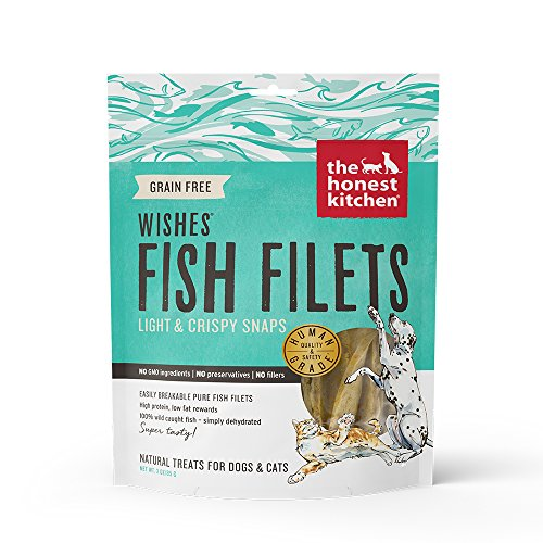 Honest Kitchen The Wishes: Natural Human Grade Dehydrated Fish Filets, Treats for Dogs/Cats, 3 oz For Sale