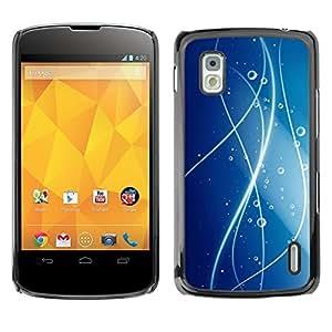 TopCaseStore / la caja del caucho duro de la cubierta de protección de la piel - Lines Water Blue Pattern - LG Google Nexus 4 E960