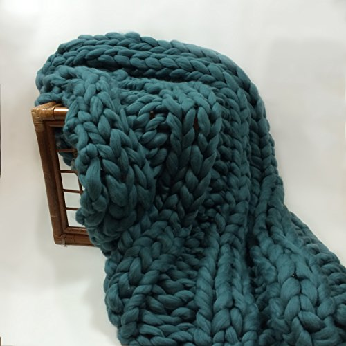 Giant Knit Blanket Pattern : Giant Knit Blanket, Super Chunky Knit Blanket, color: DuckEgg, Merino on Sale...