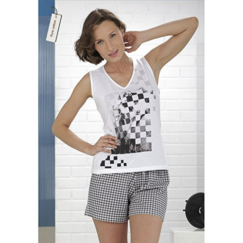 Massana - Pijama Mujer verano 100% ALGODÓN Massana PURE COTTON sin mangas - BLANCO,