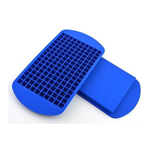 KRshop 160 Mini Ice Cube Molds Trays Frozen Cube Bar Pudding Silicone Tray Mould Mold Tool Set of 2 (Blue)