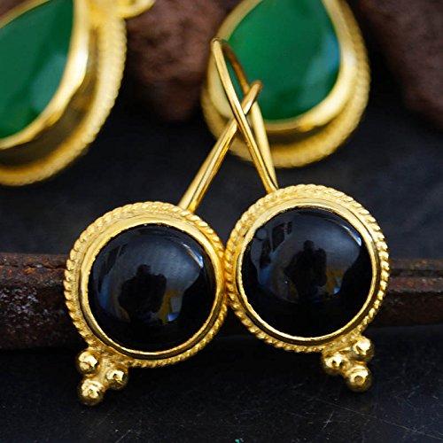 (925k Silver Handmade Black Onyx Earrings 24k Gold Vermeil Handcrafted Turkihsh Designer Jewelry Women Earrings Ancien Roman Art)