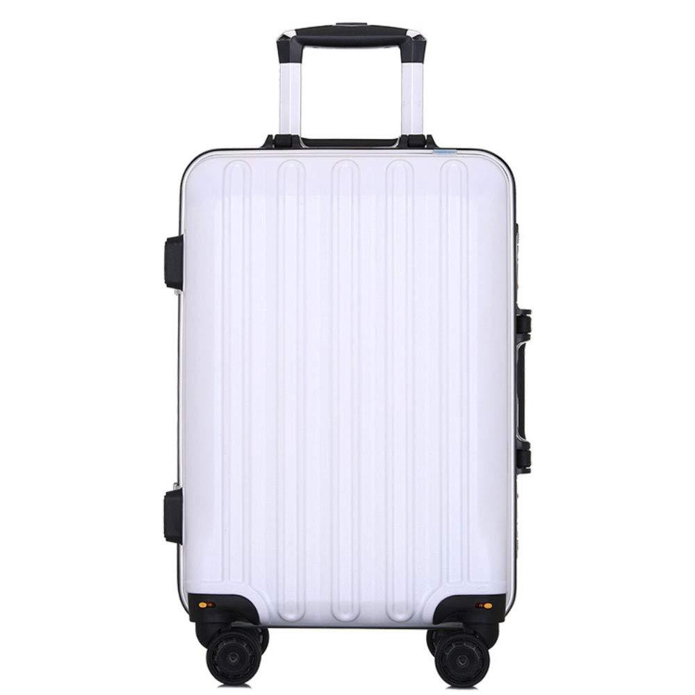 トロリーケース24インチスーツケースユニバーサルホイールスーツケース20インチ搭乗学生パスワードボックス (Color : 白, Size : 24 inch)   B07RBTV3NW