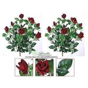 2 Bundles Velvet Rose Artificial Dark Red Flower Bouquet Blossom Silk DIY Home Garden Office Dining Table Wedding Decoration ... 57