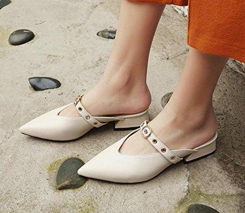 Moda 3 svago Sandali con grassetto pantofole cm a Da bassa bianco 36 luce Calzature punta Alla Donna AJUNR dUFqII