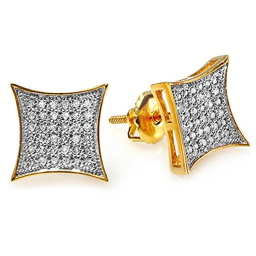 0.20 Carat (ctw) 10K Yellow Gold White Real Diamond Mens Hip Hop Iced Stud Earrings 1/5 CT by DazzlingRock Collection