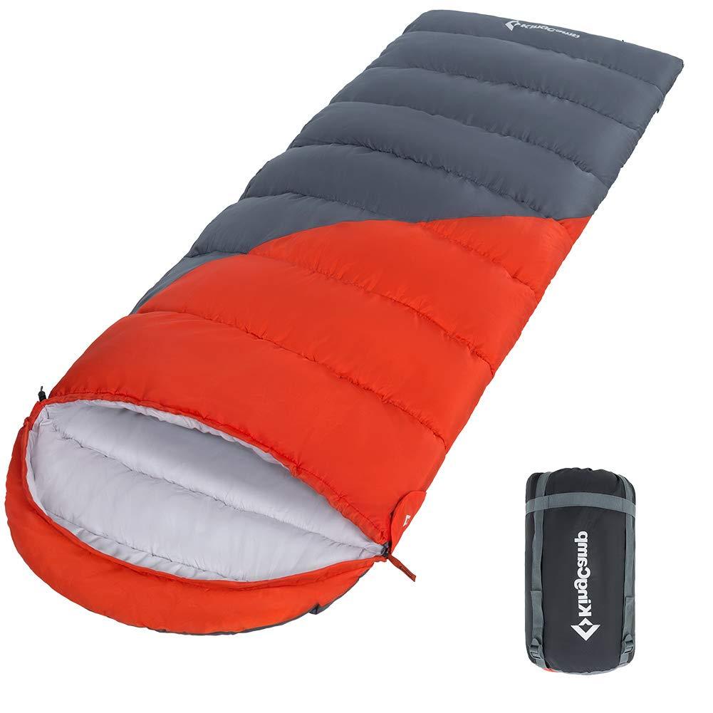 KingCamp 寝袋 封筒型 シュラフ 連結可能 (190+30)*80cm 耐寒温度-14℃ 1.65kg アウトドア 登山 車中泊 防災用 コンパクト収納 収納袋付き KS3211 B07D8M4RZD 左側タイプ