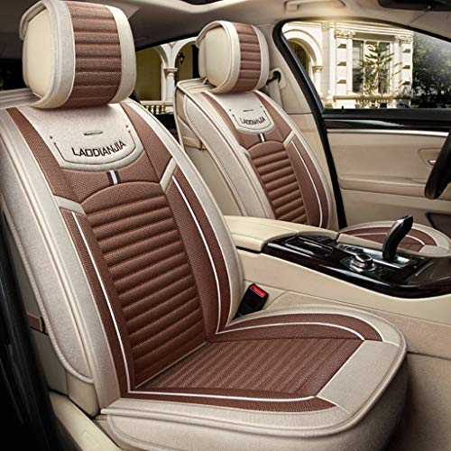 Makango Car seat Cushion Universal Flax Car Seat Cover Comfortable Breathable for 5 Seats Car - Year-Round use (Color : A)