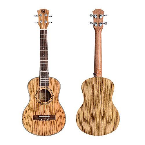 "Vangoa - UK-21Z Soprano 21"" inches Acoustic Ukulele in Zebra Wood with Nylon Strap, Pick, Pick Container, Carry Bag, Tuner, Kazoo, Backup Strings, Finger Shaker - Image 1"