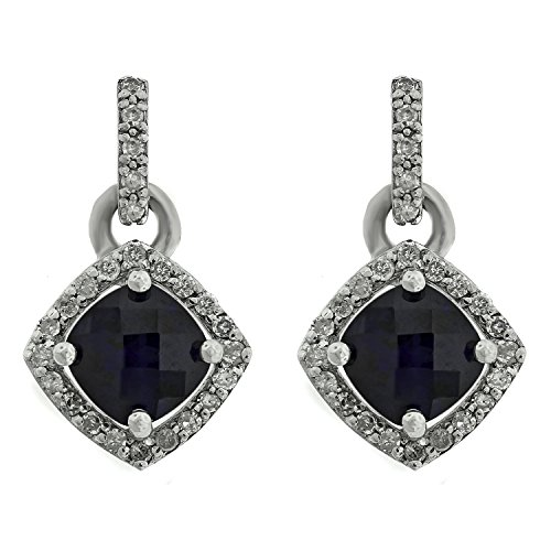 (Lavari - .5 Ct Cushion Blue Sapphire .14 cttw Diamond Sterling Silver Birthstone Earrings)