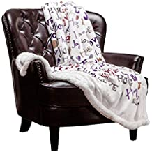 Chanasya Love Hug Joye Personalized Gift Super Soft Ultra Plus Cozy Warm Fleece Sherpa Microfiber Reversible Purple Ivory Throw Blanke for Bed Couch Chair Sofa Office - Aubergine Blanket