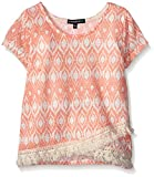 My Michelle Girls' Printed Short Sleeve Top with Wrap Front and Fringe Hem