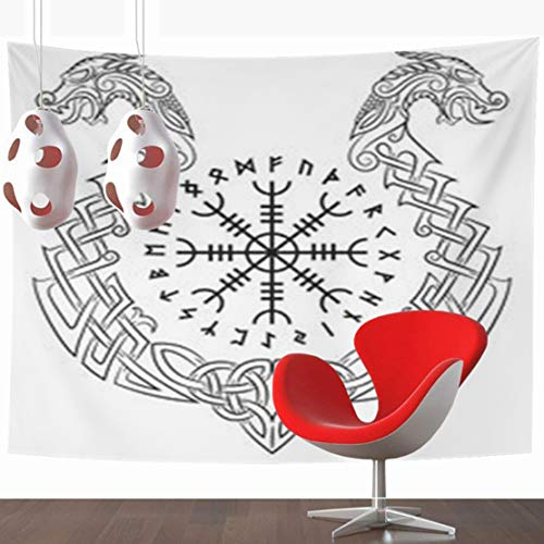 (YeaSHARK Wall Hanging Tapestries 80 x 60 Inches Aegishjalmur Helm Awe Terror Icelandic Magical Staves Scandinavian Form Dragon Boat Drakkar Decor Tapestry for Home Bedroom Living Room Dorm)