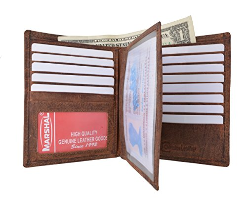 Marshal Bifold Leather RFID Blocking Wallet For Men & Women | Genuine Leather Holder With 20 Slots, 2 Bill Compartments & ID Window | Hipster wallet Money, Driver's License, Travel & More (Vintage) ()