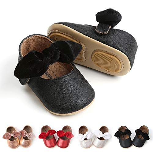 Sakuracan Baby Girls Mary Jane Flats Soft Sole Princess Dress Shoes (Infant) (11cm(0-8 Months), D-Black)