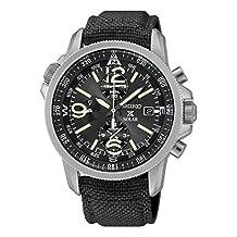 Seiko SSC293 Men's Solar Prospex Stainless Brown Nylon Band Black Dial Silver Watch