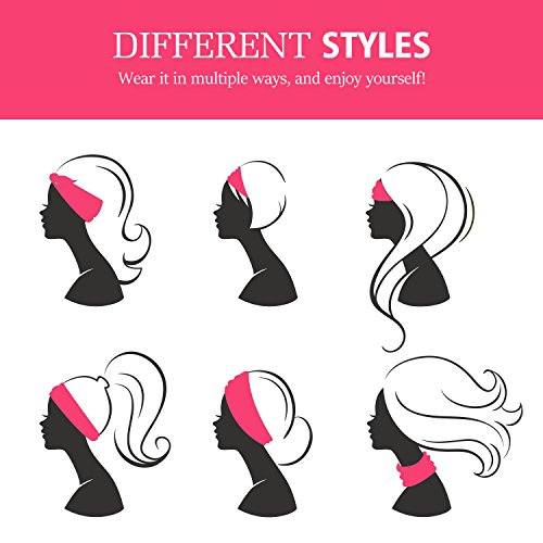 Versatile Lightweight Sports Headband, MoKo Breathable Sweat Wicking Multi-use Headwear, Elastic Knotted Hair Band Soft Turban Head Wrap, for Workout, Running, Yoga, Fitness, Casual, Fashion - Pink