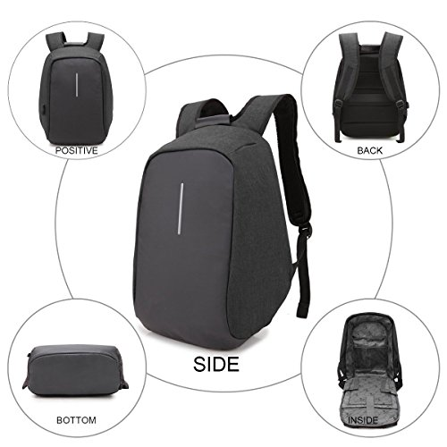 College Black Bag Hidden Compartment Laptop Waterproof Business ONENICE Backpack Travel thief Charging Men USB with Zipper Lightweight Daypack Anti and Port Women with for qZTg6nw