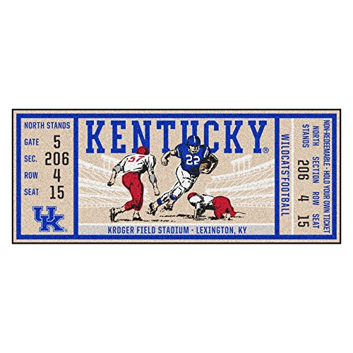 (NCAA University of Kentucky Wildcats Ticket Non-Skid Mat Area Rug Runner)