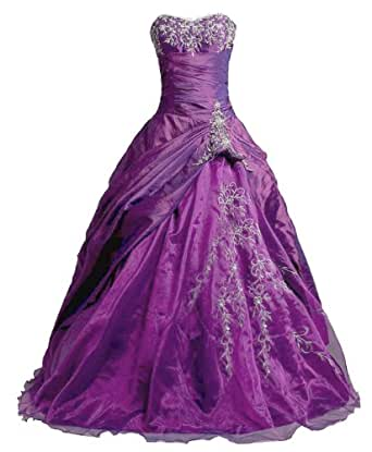 Amazon.com: Faironly Purple Strapless Formal Prom Gown
