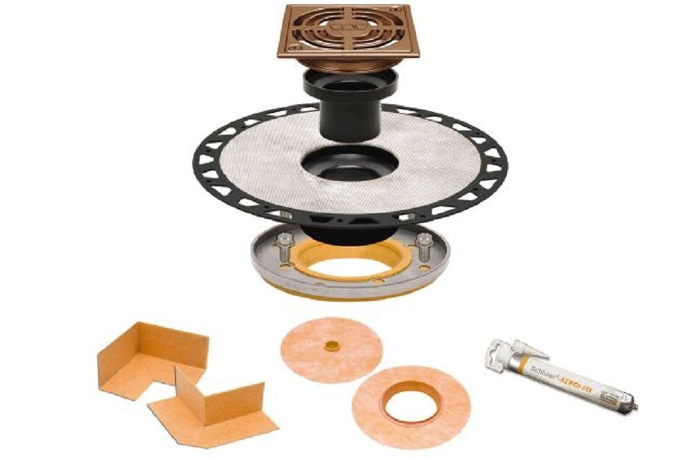 Schluter Systems Kerdi Drain Kit Residential//Commercial All Models Size//Type ABS//PVC 4 // 6 Grate KDAR KD2 KDA 2 // 3 Outlet KD2//ABS//E Stainless Steel Drain Kit