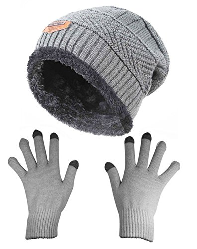 HINDAWI Womens Slouchy Beanie Gloves Set Skull Cap Touch Screen Mittens Knitted Winter Hat Windproof Grey