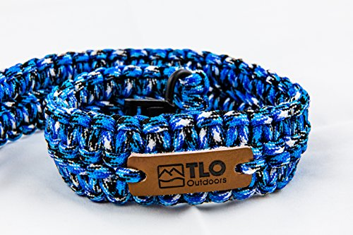 TLO Outdoors Paracord Gun Sling - Adjustable 2-Point Paracord Sling Rifle, Shotgun Crossbows (550 Rated Nylon, Kernmantle Paracord, Extra Wide, Blue/Black CAMO)