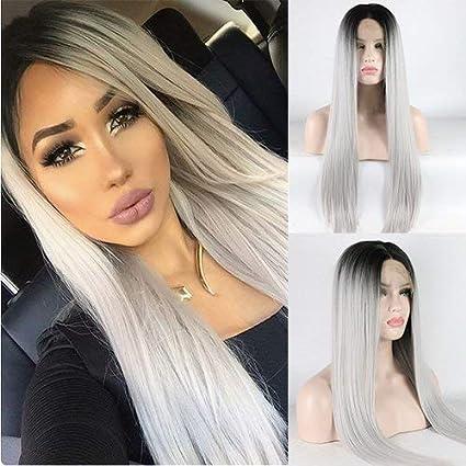 Party Queen Ombre gris 2 tonos encaje frontal peluca con raíces oscuras largas rectas plata gris