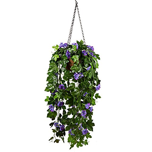 (Mixiflor Artificial Morning Glory Plant, Artificial Hanging Basket Flowers Decorative Silk Flower Plant Garland Vine For Home Outdoor)